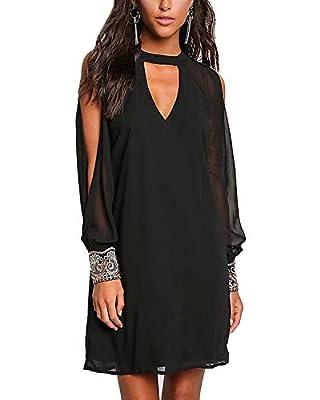 YOINS Women Evening Dresses Long Sleeves Chiffon Dress Cold Shoulder V Neck Choker Elegant Party Dress