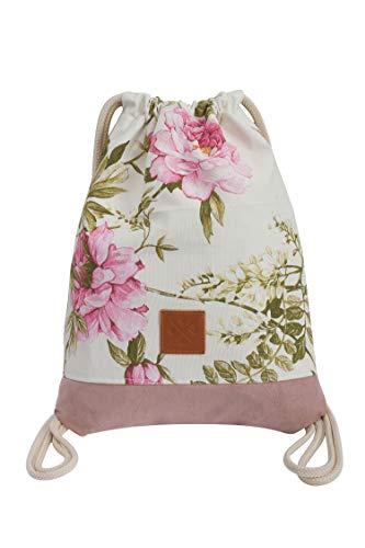 Manufaktur13 Floral Sports Bags - Turnbeutel mit Blumenmuster, Rucksäcke, Flower Pattern Gym Bags, Backpacks, Sportbeutel, Jutebeutel, Blumen Tasche (M13) (Rose Wood (Pink))