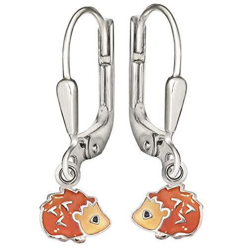 CLEVER SCHMUCK Silberne Ohrhänger 22 mm Mini Igel 6 mm orange braun schwarz lackiert glänzend STERLING SILBER 925 für Kinder