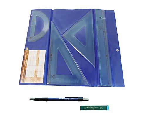 PACK LOTE Estuche tecnic SERIVAN Juego compuesto por Regla 30 cm, escuadra y cartabón de 25 cm + Portaminas Edding P12 + 1 Tubo de 12 Minas Faber Castell 0.7 mm HB