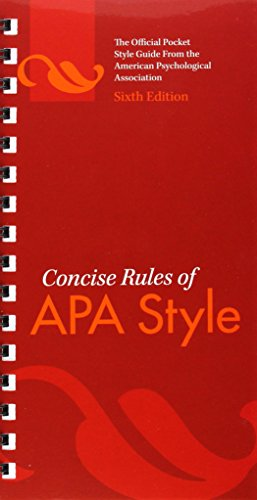 Concise Rules of APA Style (Concise Rules of the American Psychological Association (APA) Style)