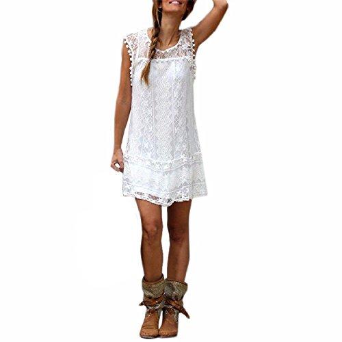 Donna Vestiti Senza Maniche Abito Cerimonia Elegante Estivo Corti Vintage In Pizzo Bianco Palla Allentato Vestito Corte Dress Femminile Per Festa Ballo Partito Bianco (XXL)