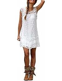 Lannister Fashion Donna Vestiti Senza Maniche Abito Cerimonia Elegante  Estivo Corti Vintage in Pizzo Bianco Palla 826970b8262