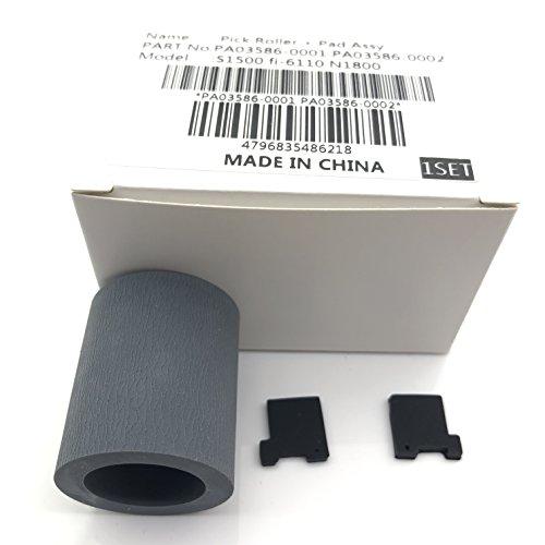 5Set X PA03586-0001PA03586-0002Pick Roller Pad Assy Montage Pickup Roller Separation Pad für Fujitsu S1500S1500M fi-61103586(mit Installation Anweisungen und Video) (Roller Picks)