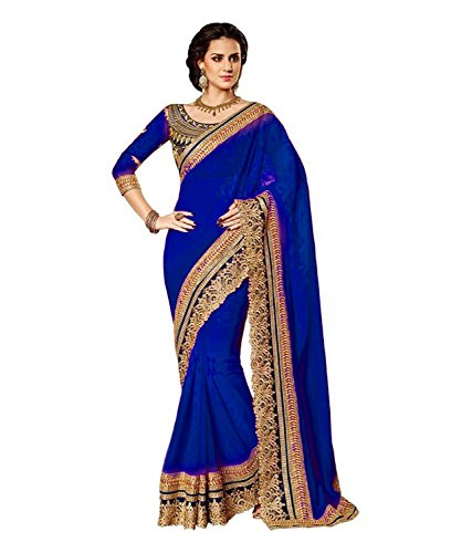 Winza Designer Chiffon Saree with Blouse Piece (cutwrk blue design collection fancy...
