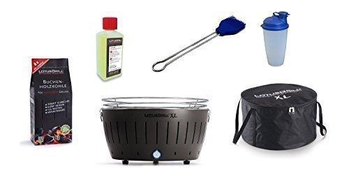 LotusGrill XL Kit de démarrage 1x gris anthracite 1x charbon bois hêtre 1kg, 1x Pâte brûlante 200ml, 1x Pinceau à marinade Ultra bleu marine, 1x Shaker sauce, 1x sac transport - Le raucharme