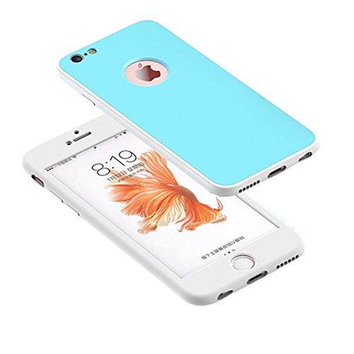Cover iPhone 6/6s 360 Gradi Morbido Full Body Ultra Sottile TPU Antiscivolo Protettiva Custodia Case DECHYI (4.7 - Bianco+Rosa) Bianco + Blu