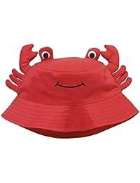 Tangda Chapeau 3D Carbe pour Bébé Fille Garçon Bob Hat anti-uv Protection Coton Casquette Panama Plage Orange/Rouge Tour de Tête 45-53CM 9mois-6ans optique