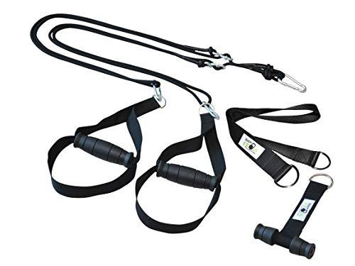 BodyCROSS Premium Schlingentrainer mit Türanker und Zertifikat (InBuB-Siegel)   Sling Trainer Set inkl. Übungsposter, Trainingsplan, Befestigung   abnehmbare Griffe   Made in Germany   (sw o Spacer)