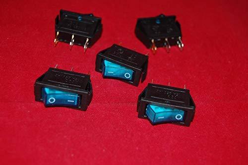 Rectangle Rocker Switch (TEN-G Lot of 5 Pcs Rectangle Blue Light Illuminated 2 Position Rocker Switch 3 Pin 24V AC/DC Boat Switch KCD3)