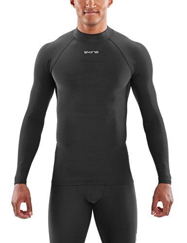 Skins Herren DNAmic Force Thermal Mens L/S Mock Neck Long Sleeve Top, Black, L - Herren-mock-neck-shirt