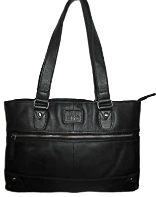 ROWALLAN LARGE BLACK LEATHER TWIN HANDLE SHOULDER BAG - REDUCED