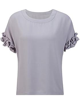 Beauty7 Camisetas Gasa Mujer Verano Mangas Corta Floral Cuello Redondo Tops T Shirt Parte Superior Camisa Elegante...