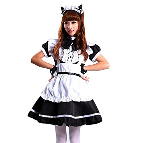 ourlove Fashion Damen Cosplay Katze Ohr French Maid Erwachsene Kleid Halloween-Kostüm Gr. 36, (French Maid Halloween)