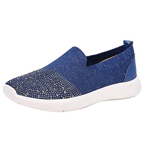 Leichte Flyknit-Sneaker für Damen, Mesh-Atmungsaktive Slip-On-Sandalen, Glitzernde runde...