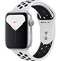 Apple Watch Nike Seri 5 44mm GPS Gümüş Alüminyum Kasa ve Pure Platinum/Siyah Nike Spor Kordon MX3V2TU/A
