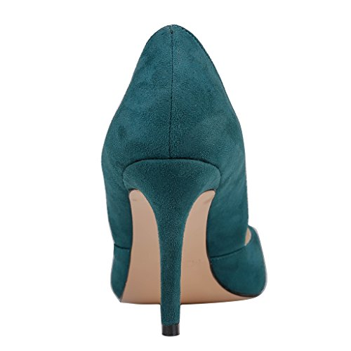 EKS Damen Spitze Middle Heels Pumps Dark Gr¨¹n-Wildleder
