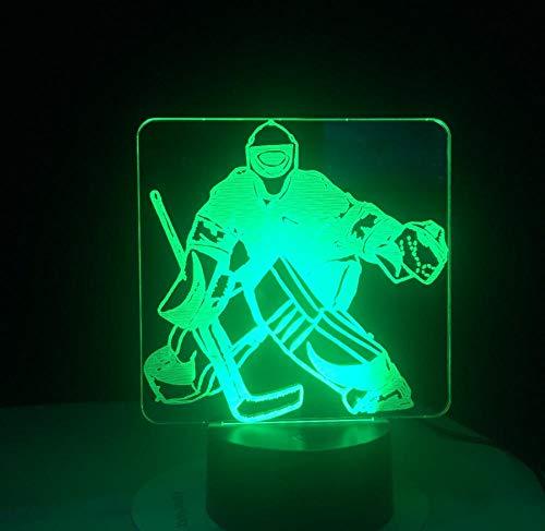 Eishockeytorwart 3D, der Nachtlicht USB-Schlafzimmerschlaf-Beleuchtungsbewegung der Tischlampe 7 Farbänderung LED modelliert