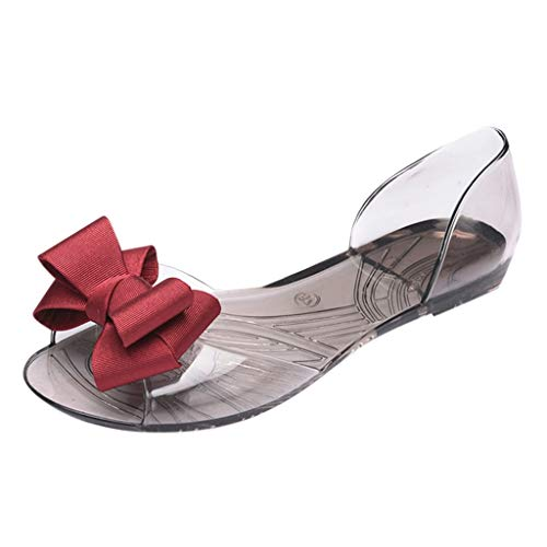 MakefortuneFrauen Wedges Sandalen Open Peep Toe Bohemia Kleid Schuhe Bögen Dekor Ausschnitt Flache Sandale D'orsay Komfort Wanderschuh Stuart Peep Toe