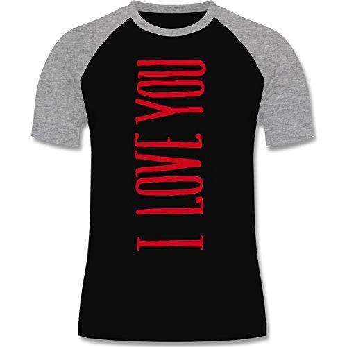 Valentinstag - I Love you vertikal - zweifarbiges Baseballshirt für Männer Schwarz/Grau Meliert