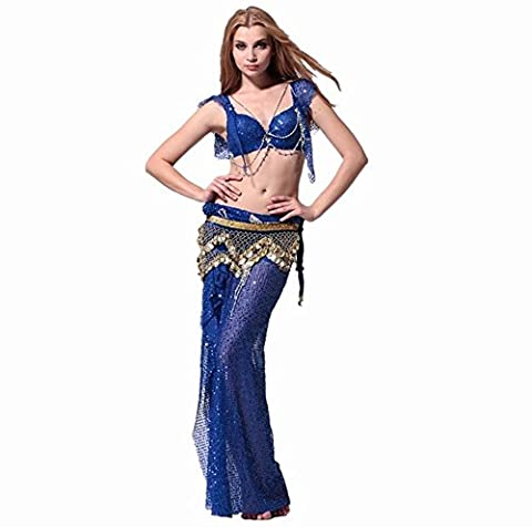 Byjia Femmes Solides Couleur Satin Costumes De Danse Du Ventre . Blue . 3
