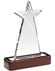 """Star placa de vidrio trofeo en base de madera, 7.5"""""""