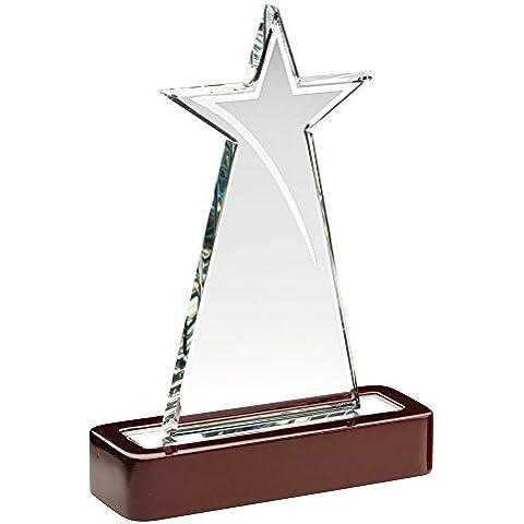 Star placa de vidrio trofeo en base de madera, 7.5