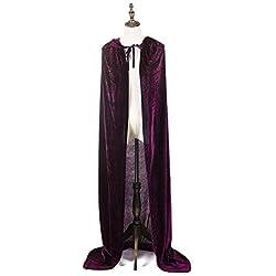 """MAPLE Disfraces de Halloween para adultos Mujeres Hombres Cosplay Long Cape Cloak Disfraz para Juego de rol (púrpura, 150 cm/59"""")"""