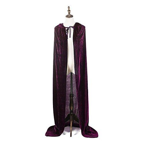 Maple costumi di halloween per adulti donne uomini cosplay mantello lungo mantello vestito operato per gioco di ruolo (viola, 150 cm/59