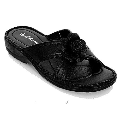 FANTASIA BOUTIQUE pour Femmes Traverser Front Fleur Accent Semelle Légèrement Compensée femmes Chaussures Sandales De Mode Noir