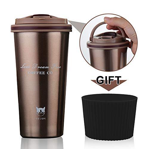 FAGORY Termo de Café Portátil Termo Taza Frasco de Vacío de Acero Inoxidable, Taza de Viaje Sin BPA, Antigoteo, Térmica de Doble Pared, Aislado al Vacío Taza de té Reutilizable 500ML