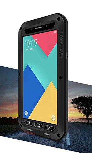 Love Mei Schutzhülle für Samsung Galaxy A9, wasserdicht stoßfest staubdicht Aluminium Metall mit Gorilla Glas Cover * 2Jahre Garantie * schwarz