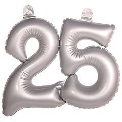 Idea Regalo - Folat Numero gonfiabile 25 Argento Matrimonio Decorazione Argento Matrimonio Palloncino