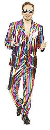 Regenbogen Metallic Party Anzug für Herren Gr. 46 48 - 70er 80er Jahre Kostüm für Fasching, Mottoparty und (Disco Kostüme Männer Party)