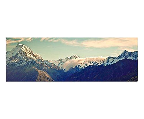 Panoramabild auf Leinwand und Keilrahmen 150x50cm Neuseeland Nationalpark Berge Schnee