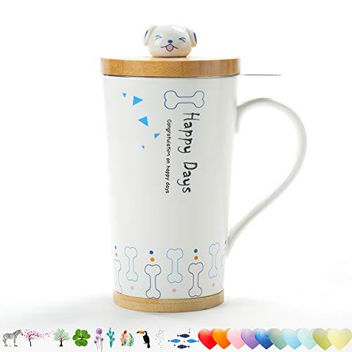 TEANAGOO M058-7 Teebecher mit Infuser und Deckel, 510 ML, Hund, Teegeschirr mit Filter Teetasse Steeper Maker, Brühsieb für losen Blatttee, Diffusorbecher für Tee-Liebhaber-Geschenkkeramik einfach