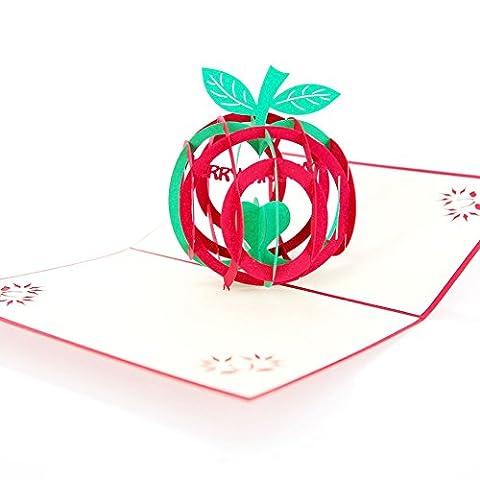 Papier Spiritz Pop Up 3d Cartes d'anniversaire Lucky Apple Cartes de vœux Happy Mothers Day Origami Paper Craft Cartes Postales pour toutes les occasions avec enveloppe de découpe laser
