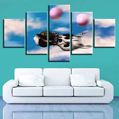 Fbhfbh HD Drucke Poster Modulare Wohnzimmer Leinwandbilder 5 Stücke Cartoon Tier Hund Ballon Gemälde Home Wandkunst Dekor Rahmen-16x24/32/40inch,With frame
