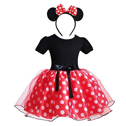 Mädchen Minnie Mouse Schuhe Tie Dot Bow Princess Sandalen Jelly Schuhe Weihnachten Geburtstagsgeschenk für Kleinkind/Little Kid (6-12 Monate(Höhe60cm), rot 1) (6-12 Uk Halloween-kostüme Monat)