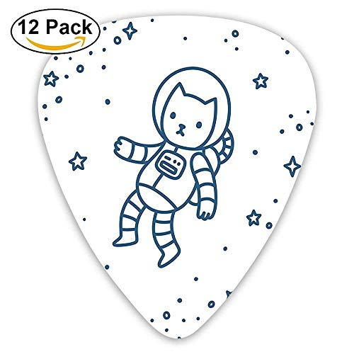 Cute Cartoon Astronaut Pioneer Cat Flying In Outer Space Doodle Style Guitar Picks 12/Pack