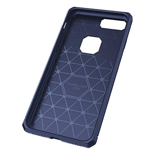 Wkae Brushed Carbon Fiber Texture Shockproof TPU Schutzhülle für iPhone 7 Plus ( Color : Red ) Dark blue