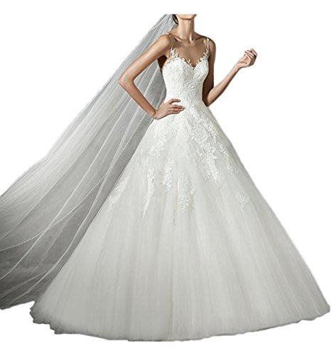 Charmant Damen Glamour Weiss Spitze Tuell Hochzeitskleider Brautkleider Brautmode Prinzess A-linie...