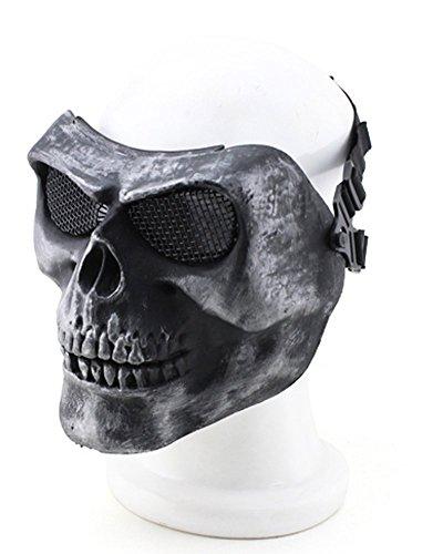 012765Tastschalter Metallic Maske für Radfahren/Halloween/Totenkopf Skelett/Airsoft/Paintball/BB Gun, eine Full Face Schutz Maske Shot Helme YH