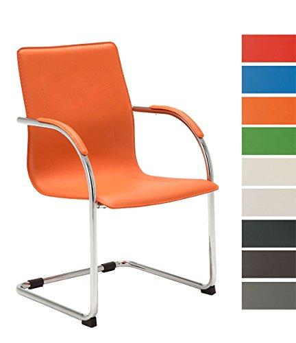 CLP Freischwinger-Stuhl mit Armlehne MELINA V2, Konferenzstuhl / Besucherstuhl mit gepolsterter Sitzfläche orange