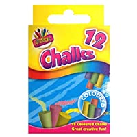 Pack of 12 Coloured Chalk Box White Chalk, Assorted colors, Chalks For Kids/Nontoxic