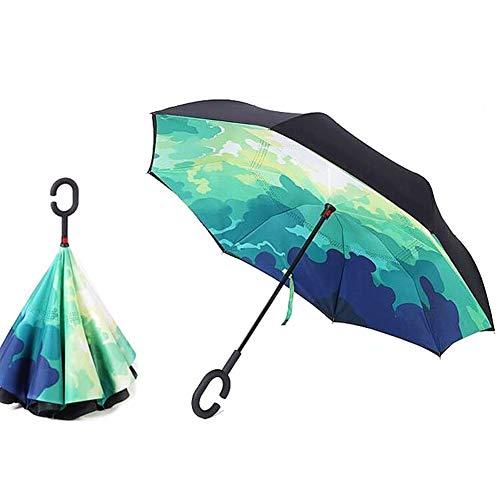Paraguas Invertido, Sol y la lluvia Paraguas,Parasol de Protección Contra el Viento Ultravioleta de Reversa con Mango en Forma de C Para el Coche de Viajes al Aire Libre (A)