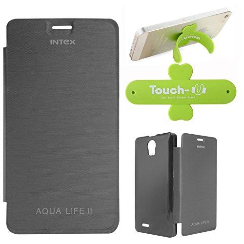 DMG Premium Diary Flip Book Cover Case for Intex Aqua Life II (Black) + Touch U Mobile Stand