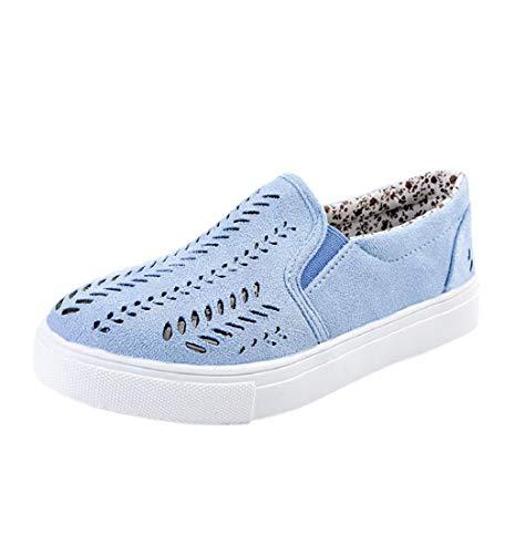 HupoopDamen-Frauen höhlen heraus Schuhe runde Zehe Plattform Flache Ferse Beleg auf beiläufigen Schuhen aus(Blau,42)