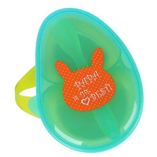 Sezione Ciotola con Snap-In Cucchiaio, Kidsmile Spill Proof portatile BPA di alimentazione del bambino con coperchio e cucchiaio, 2 Diviso Compartimenti Container (Verde)