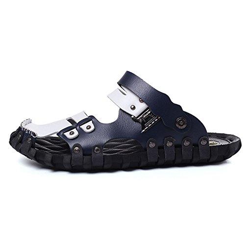 Männer Gladiator Sandalen Hausschuhe Leder halb geschlossene Strandschuhe Keine rutsch atmungsaktive Hohle Schuhe im Sommer -